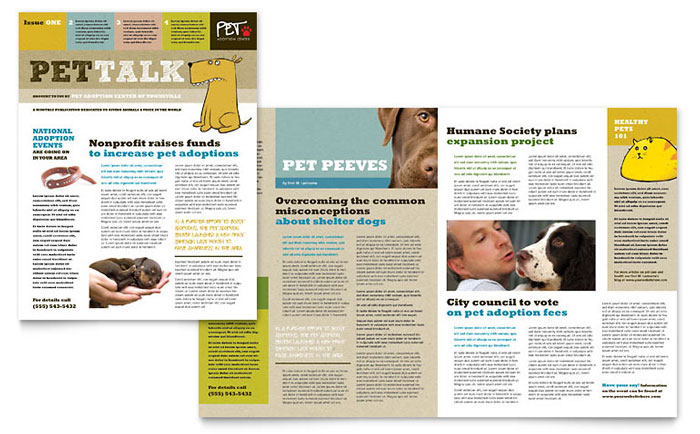 animal shelter pet adoption newsletter template word publisher - Newsletter Design Ideas