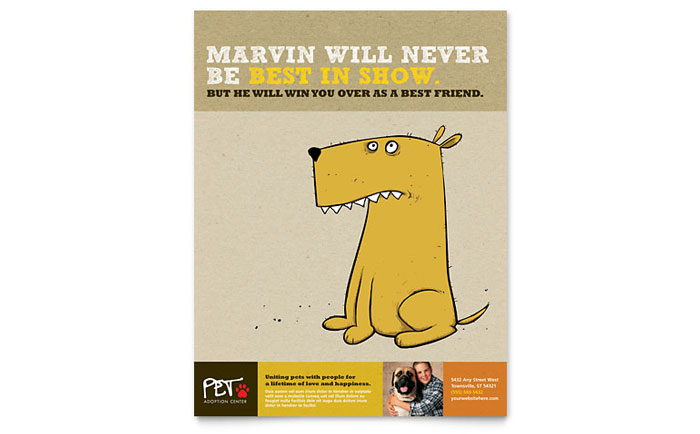 Animal shelter pet adoption flyer template word for Dog adoption flyer template