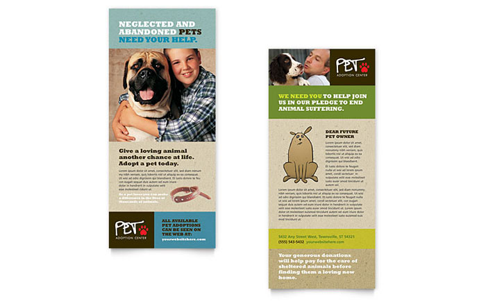 rack card template for word - animal shelter pet adoption rack card template word