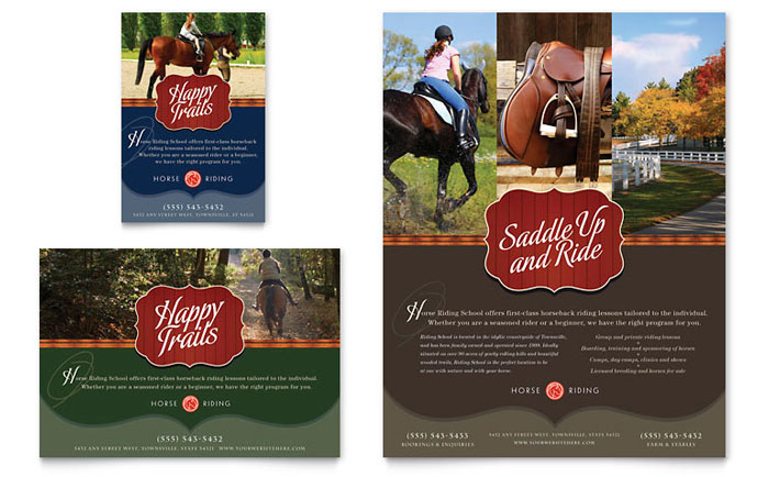 Horse Riding Stables & Camp Flyer & Ad Template - Word & Publisher