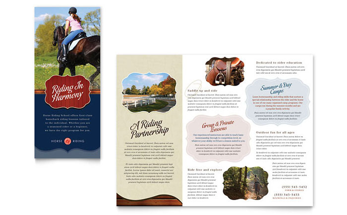 Horse Riding Stables Camp Tri Fold Brochure Template Word