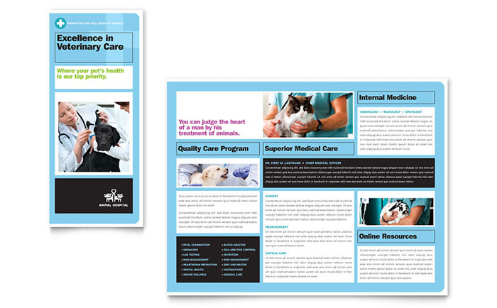 Animal Hospital Brochure Template Download - Word & Publisher - Microsoft Office
