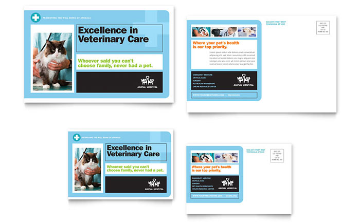 Animal hospital postcard template word publisher for 6x4 postcard template