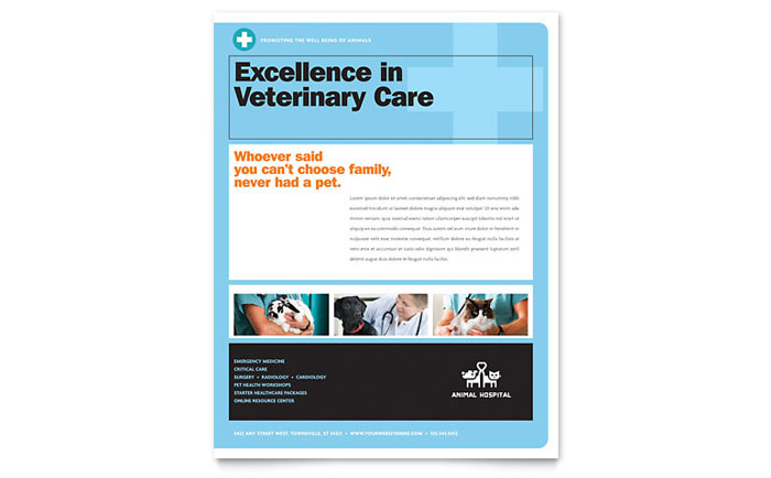 Animal Hospital Flyer Template Download - Word & Publisher - Microsoft Office
