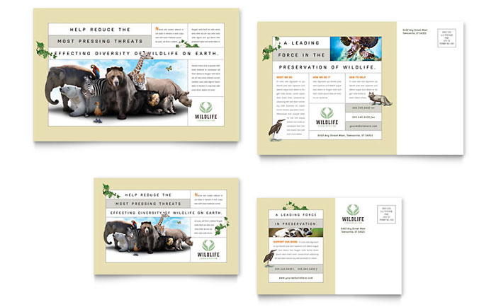 Nature & Wildlife Conservation Postcard Template - Word & Publisher