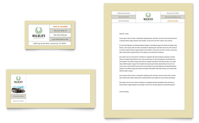 Nature  Wildlife Conservation Business Card  Letterhead Template