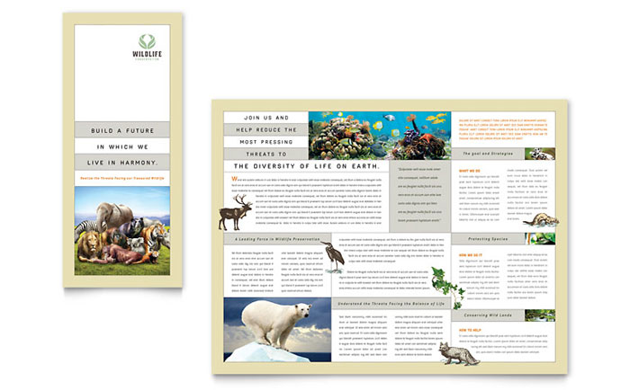 Nature & Wildlife Conservation Tri Fold Brochure Template - Word & Publisher