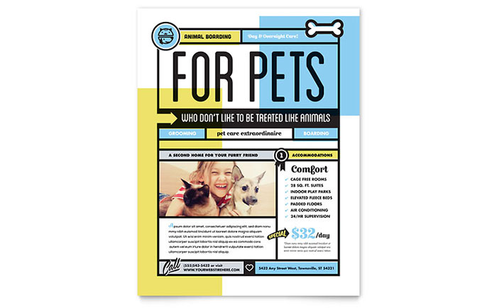Pet Boarding Flyer Template - Word & Publisher