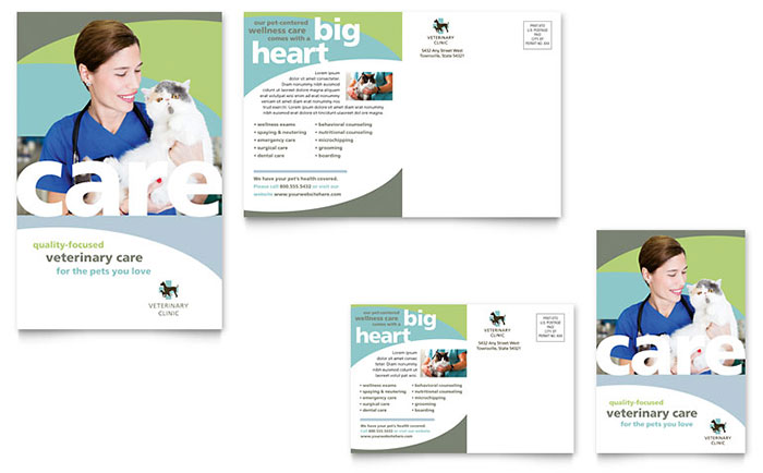 Vet Clinic Postcard Template Download - Word & Publisher - Microsoft Office