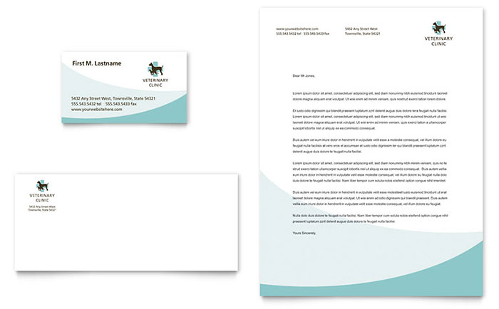 vet clinic business card letterhead template word publisher
