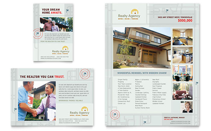 Real Estate Agent Realtor Flyer Ad Template Word Publisher - Realtor brochure template
