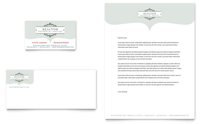 Realtor & Realty Agency Business Card & Letterhead Template - Word & Publisher
