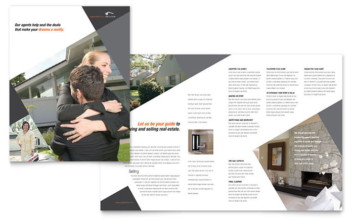 Contemporary Modern Real Estate Brochure Templates RE0030101D on Real Estate Flyer Templates Free Microsoft Word