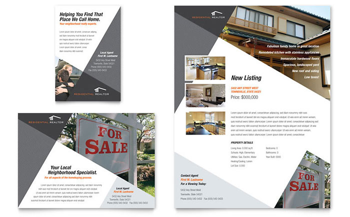 Contemporary Modern Real Estate Flyer Ad Template Word Publisher - Real estate flyer template publisher