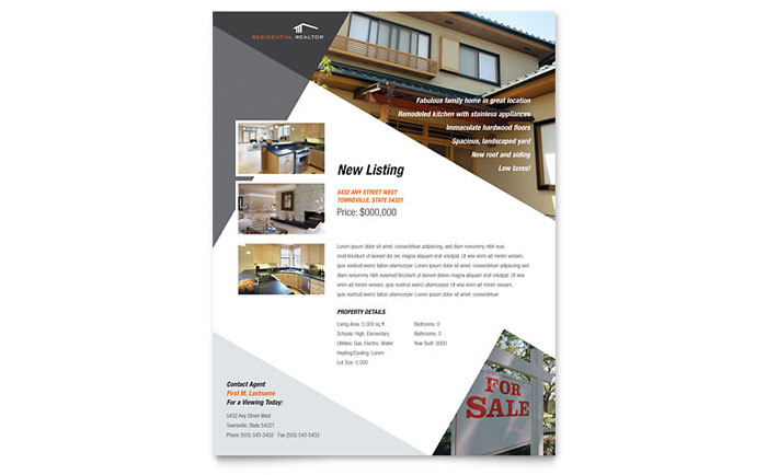 Contemporary U0026 Modern Real Estate Flyer Template