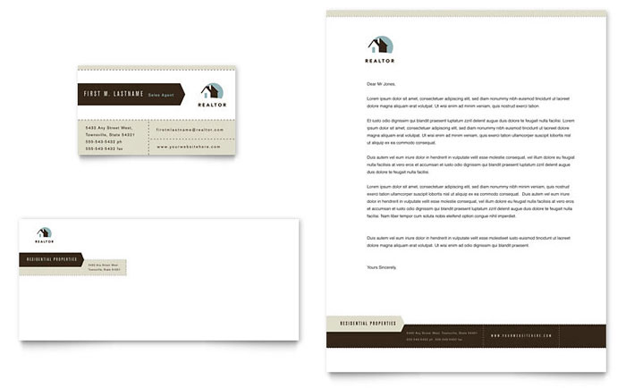 residential realtor business card letterhead template word