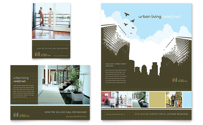 Urban Real Estate Flyer Ad Template Word Publisher - Commercial real estate brochure template