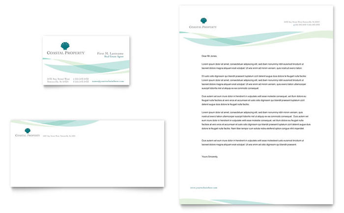 Coastal Real Estate Business Card & Letterhead Template - Word & Publisher
