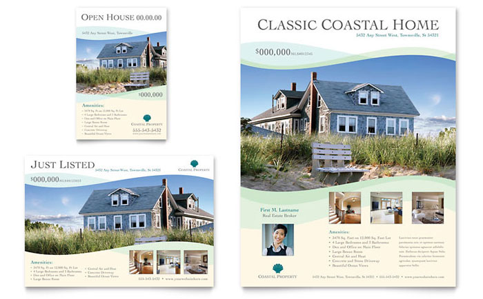 coastal real estate flyer ad template word publisher. Black Bedroom Furniture Sets. Home Design Ideas