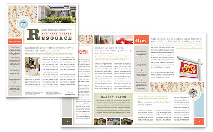 Real estate home for sale newsletter template word for Realtor newsletter templates