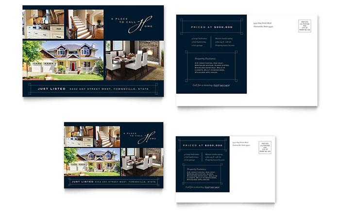 Luxury Home Real Estate Postcard Template - Word & Publisher