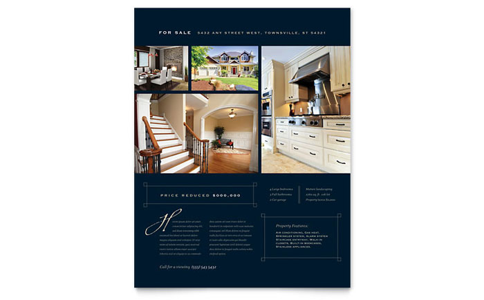 Luxury Home Real Estate Flyer Template Word Publisher - House for sale brochure templates free