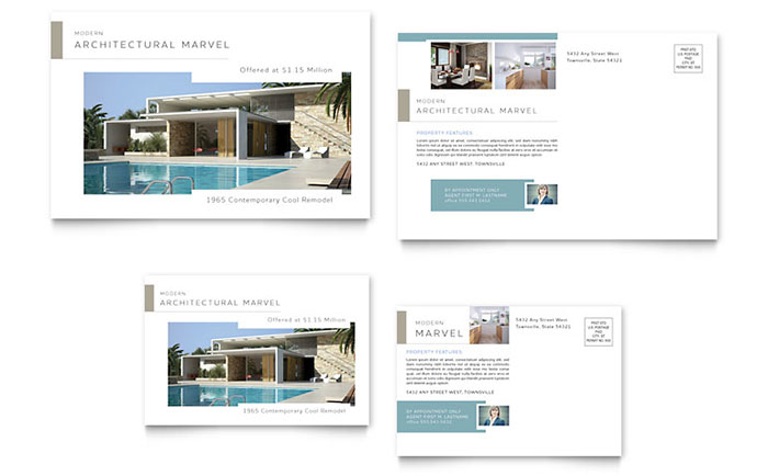 Modern Real Estate Postcard Template Download - Word & Publisher - Microsoft Office