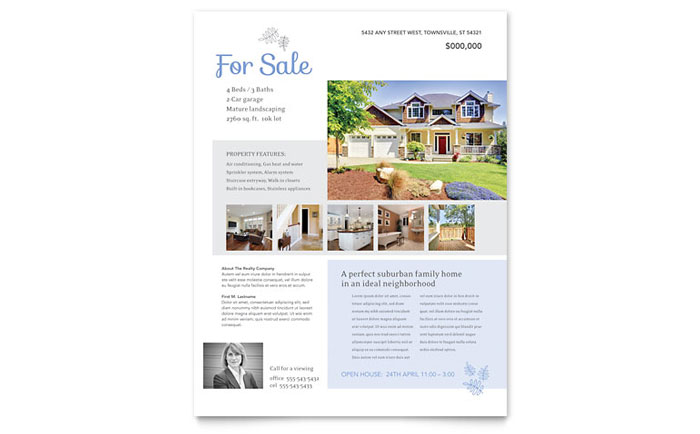 Real Estate Listing Flyer Template Word Publisher - For sale by owner house flyer template