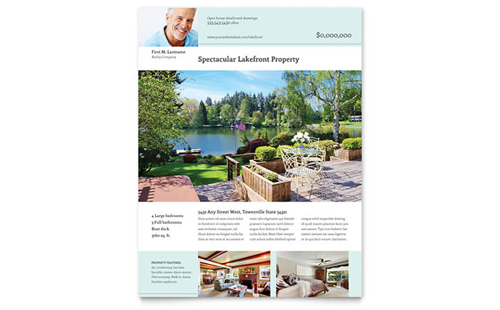 Lakefront Property Flyer Template Word Publisher