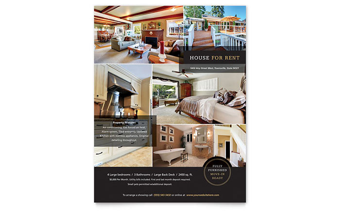 House For Rent Flyer Template Word Publisher - Property brochure template