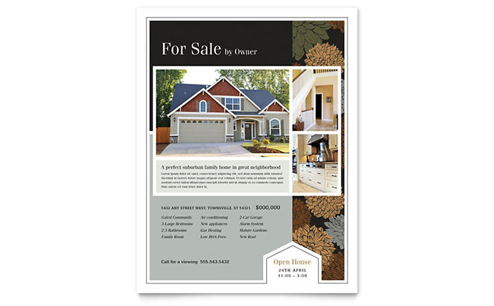 Suburban Real Estate Flyer Template Word Publisher - For sale by owner house flyer template