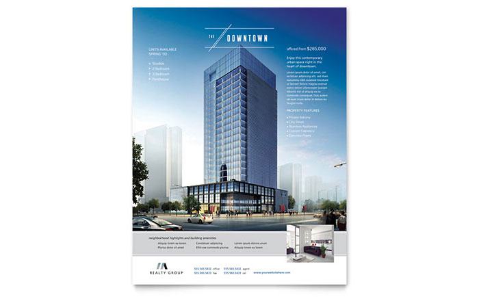 Downtown Apartment Flyer Template Download - Word & Publisher - Microsoft Office