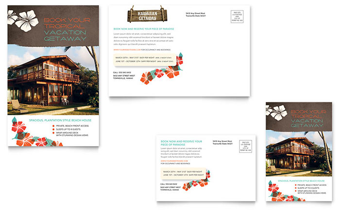 Vacation Rental Postcard Template Download - Word & Publisher - Microsoft Office