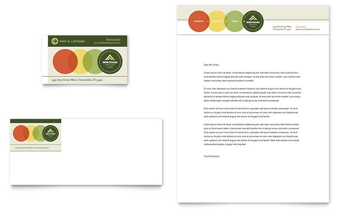 Mortgage Broker Business Card & Letterhead Template Download - Word & Publisher - Microsoft Office