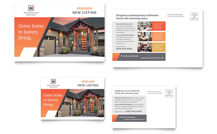 Mountain Real Estate Postcard Template Download - Word & Publisher - Microsoft Office
