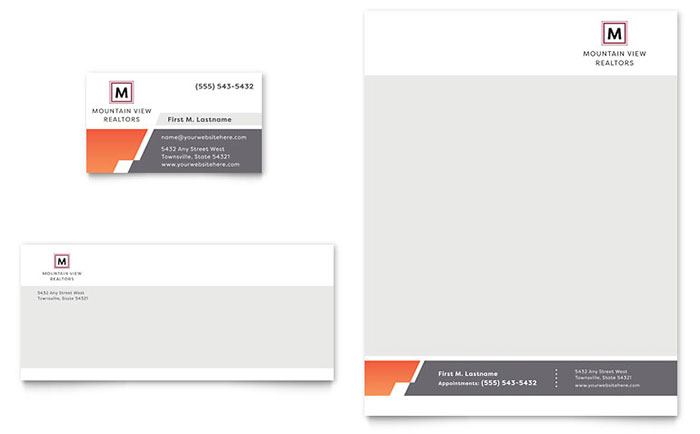 Mountain Real Estate Business Card & Letterhead Template - Word & Publisher