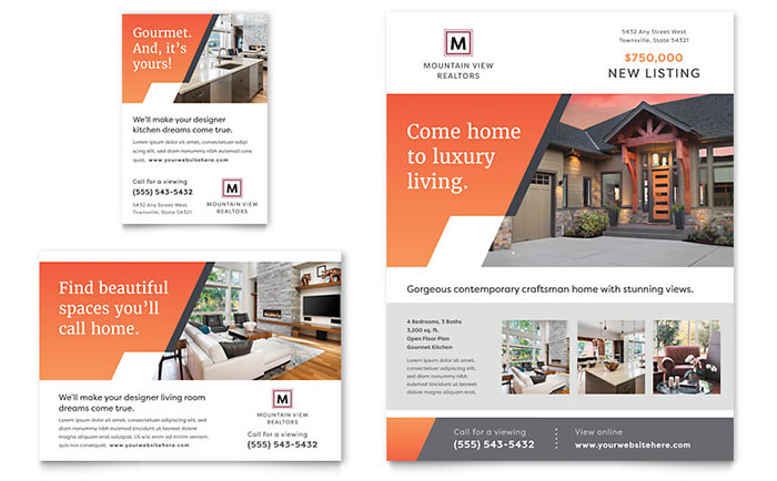 Mountain Real Estate Flyer & Ad Template Download - Word & Publisher - Microsoft Office