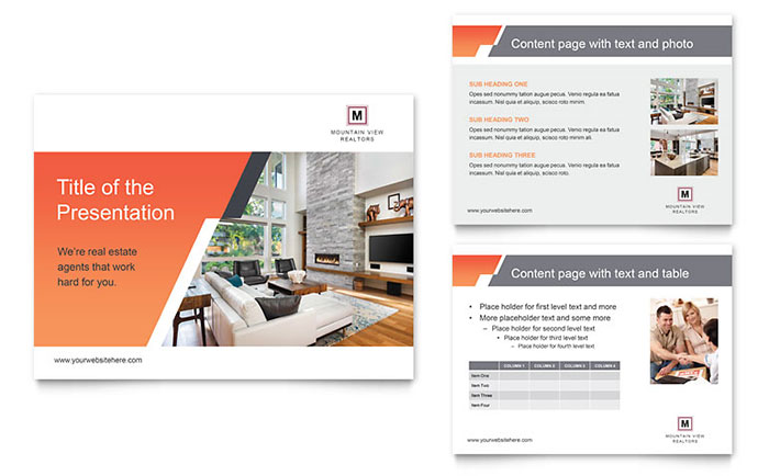 Mountain Real Estate PowerPoint Presentation Template Download - Microsoft Office