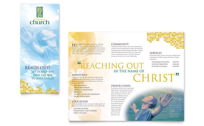 church brochures templates - christian church brochure template word publisher