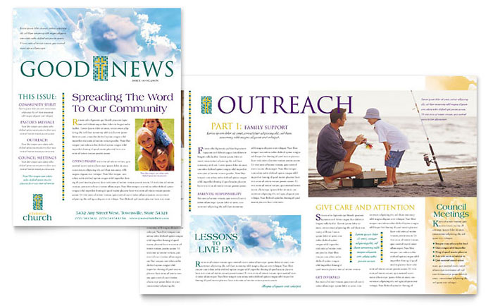 christian church newsletter template word publisher