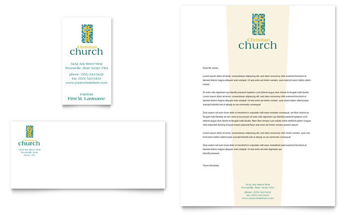 Christian church business card letterhead template word publisher accmission Choice Image