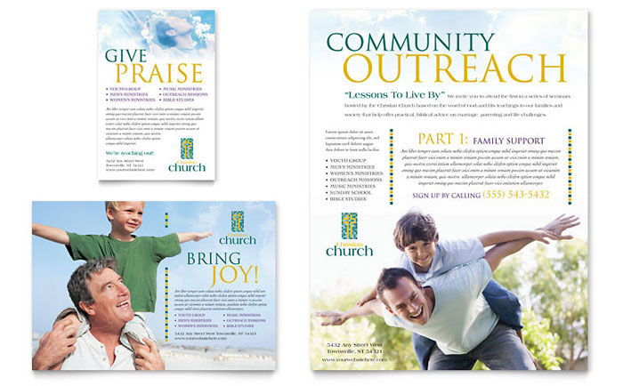 Christian church flyer ad template word publisher for Church brochure templates free