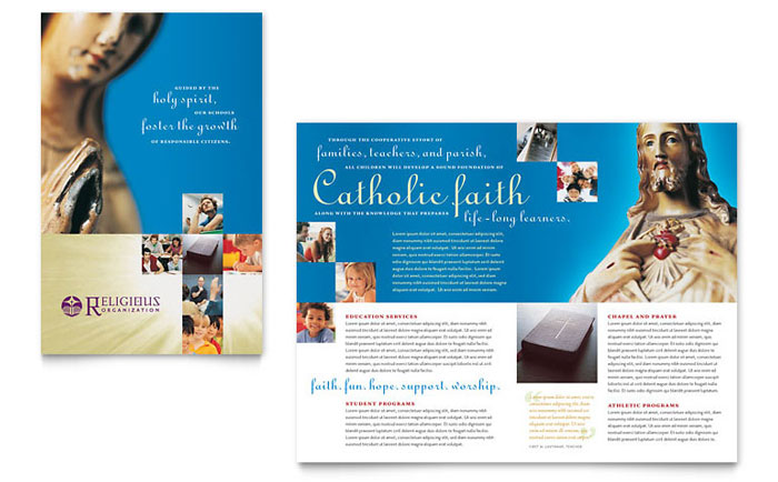 Catholic Parish And School Brochure Template Word Publisher - Tri fold school brochure template