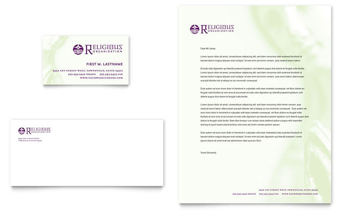 Catholic Parish and School Business Card & Letterhead Template - Word & Publisher