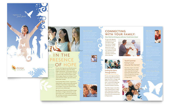christian brochure templates - christian church brochure template word publisher