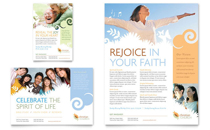 Christian church flyer ad template word publisher for Free brochure templates publisher