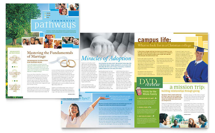 community church newsletter template word publisher