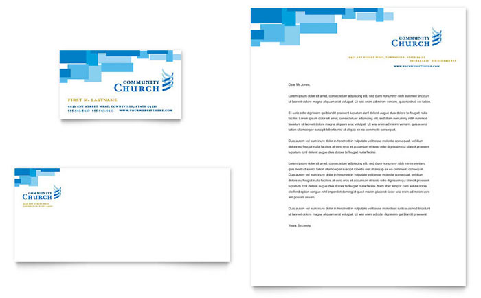 community church business card letterhead template word publisher