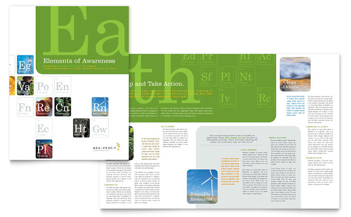 Environmental agricultural non profit brochure template for 11x17 half fold brochure template