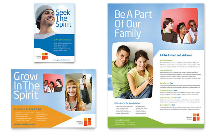 Church youth ministry flyer ad template word publisher for Church brochure templates free